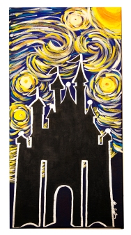 "Starry Night in Disney, 2015, 12"" x 24"", Commissioned Piece"