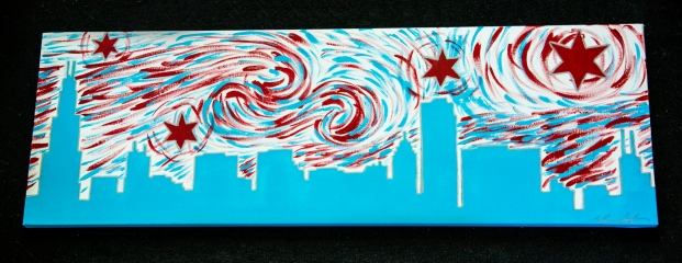 "Chicago Flag Starry Night, 2014, 12"" x 36"", SOLD"
