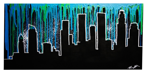 "Paint Drip LA, 2015, 12"" x 24"", Commissioned Piece"
