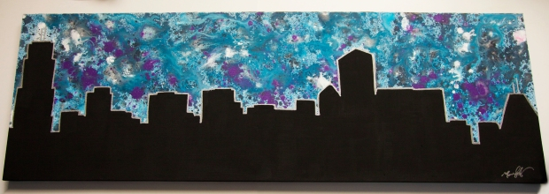 "Splatter Paint Chicago, 2014, 12"" x 36"", SOLD"