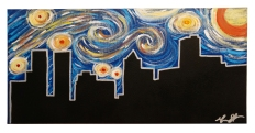 "Starry Night in Peoria, 2015, 12""x 24"",Commissioned Piece"