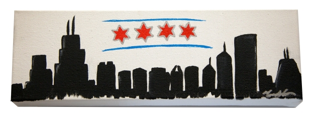 Chicago Flag Skyline, 4 x 12, 2015 SOLD