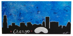 Chicago Bean Skyline, 12 x 24, 2015, Commissioned Piece