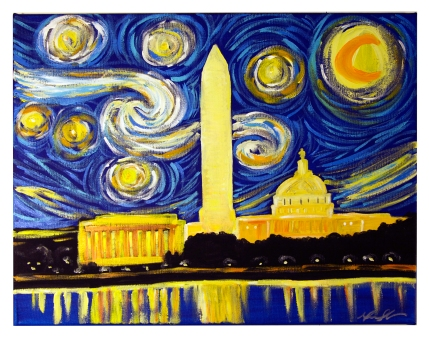 Starry Night in DC, 2015, 16 x20, Commissioned Piece