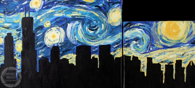 Starry Night in Chicago #1, 2010, Acrylic on Canvas, NFS