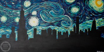 "Starry Night in Chicago #2, 2011, 24"" x 48"", SOLD"