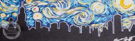 "Starry Night in Chicago 3, 2012, 4"" x 12"", SOLD"
